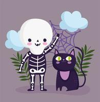 vrolijk halloween, skeletkostuum en kattenontwerp vector