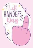 linkshandigen dag, hand met eerste gebaar