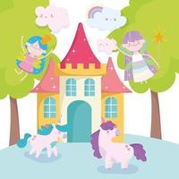kleine feeën met cartoon eenhoorns en kasteel