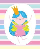 cartoon fee prinses draagt een kroon