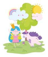 kleine sprookjesprinses met eenhoorn buitenshuis