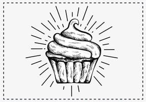 Gratis Hand Drawn Cupcake Achtergrond vector