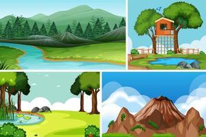 vier verschillende scènes in de natuur