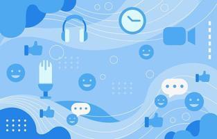 e-meeting blauwe golfachtergrond met pictogramaccent vector