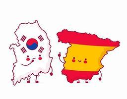 schattig gelukkig grappig spanje praten met zuid-korea vector
