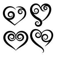 Collectie Van Vector Hand Drawn Hearts