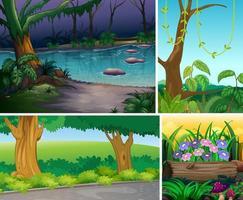 vier natuurtaferelen van bos en moeras
