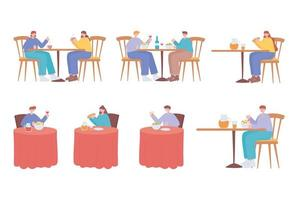 mensen die op tafels eten vector