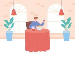 vrouw alleen eten in een restaurant vector