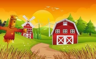 boerderijscène met schuur en windmolen