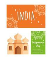 gelukkige onafhankelijkheidsdag india ingesteld vector