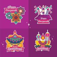 gelukkige deepavali kleurrijke stickerset