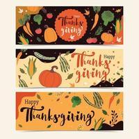 happy thanksgiving met groenten en oogstelementen vector