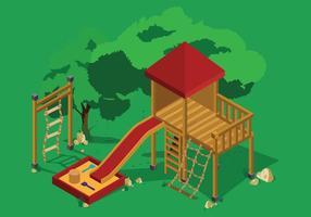 Touwladder speeltuin illustratie