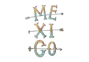 Mexico Van letters Illustration