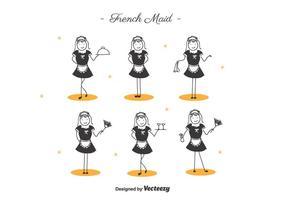Cartoon French Maid vector