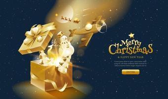 kerstmis en nieuwjaar gouden fantasie bestemmingspagina