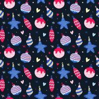 naadloze patroon met roze en blauwe kerstballen