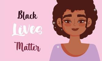 zwart leven is belangrijk ontwerp met jonge vrouw