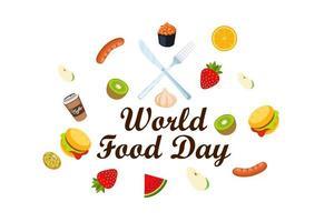 Wereldvoedseldag met voedselpictogrammen vector