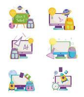 terug naar school, computers, tassen en schoolbordset