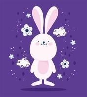 schattig roze konijn, wolken en bloemen