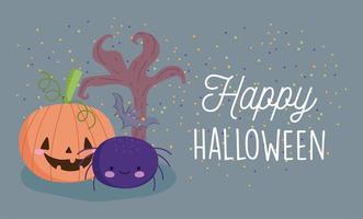gelukkig halloween, pompoen, spinnenboom en vleermuis vector