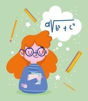 gelukkige lerarendag, leraar met linialen en potloden vector