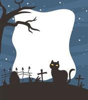 happy halloween, donkere kat begraafplaats sjabloon