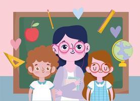 fijne lerarendag met leraar en studenten vector