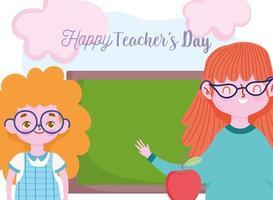 gelukkige lerarendag met leraar en studentmeisje vector