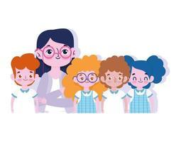 fijne lerarendag, vrouwelijke leraar en kleine kinderen vector
