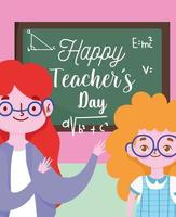 gelukkige lerarendag met leraar en leerlingmeisje vector