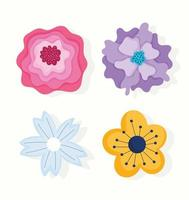 verschillende bloemen en bloemblaadjes ornament pictogrammen vector
