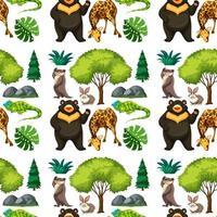 safari naadloze patroon met schattige dieren