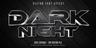 donkere nacht luxe zilver bewerkbaar teksteffect vector
