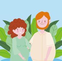 zwangere vrouw en man portret vector