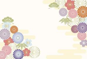 Nieuwjaar wenskaart met Japanse vintage patroon