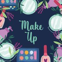 make-up en schoonheidsproducten banner met letters