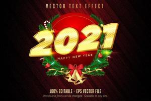 2021 gelukkig Nieuwjaar glanzend gouden cirkel tekstontwerp