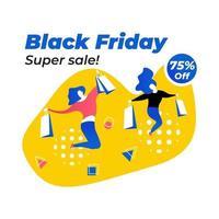 zwarte vrijdag poster met gelukkige meisjes winkelen