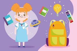 terug naar schoolbanner met studentenmeisje