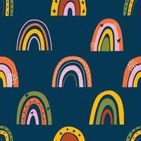 naadloos kinderachtig patroon met regenbogen in Skandinavische stijl vector