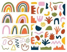 set hand getrokken verschillende vormen en doodles vector