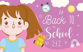terug naar schoolbanner met studentenmeisje vector