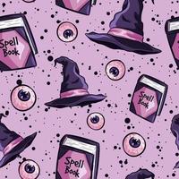 repetitieve achtergrond met oogbollen, spreukenboeken en heksenhoeden.