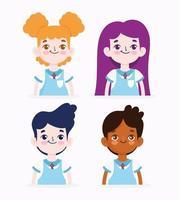 set elementaire student meisjes en jongens vector