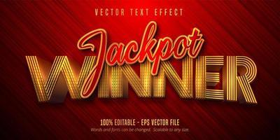 jackpot winnaar tekst glanzend gouden teksteffect vector