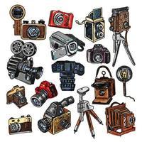 schets stijl handgetekende camera in kleur vector