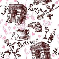 hand getekend Parijs naadloze patroon